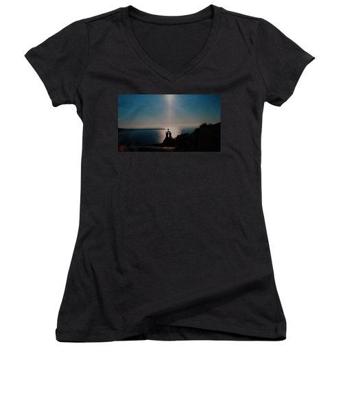 Late Evening Meditation On Santorini Island Greece Women's V-Neck T-Shirt