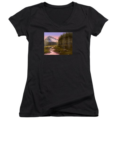 Late In The Day Women's V-Neck T-Shirt (Junior Cut) by Jack Malloch