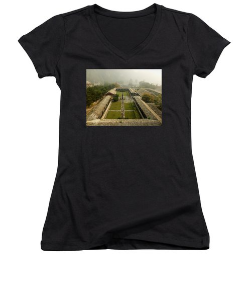 Women's V-Neck T-Shirt (Junior Cut) featuring the photograph Late Morning Fog At The Great Wall  by Lucinda Walter