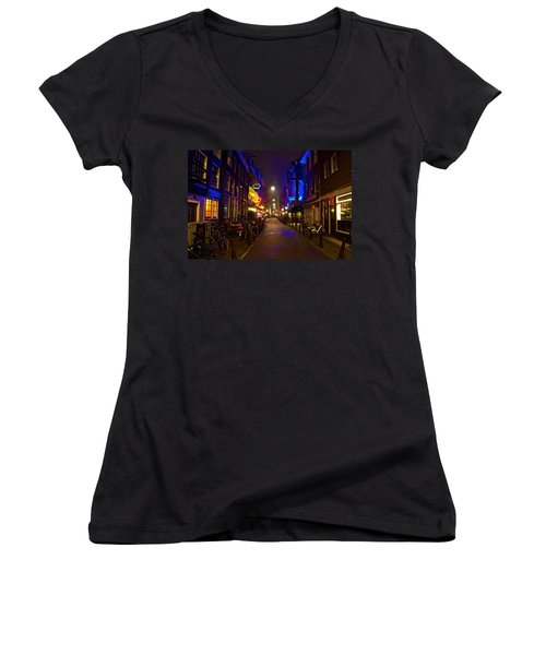 Late Night Neon  Women's V-Neck T-Shirt (Junior Cut) by Jonah  Anderson