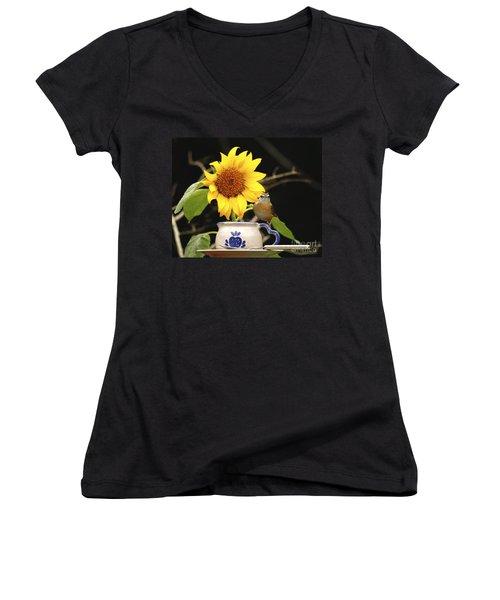 Women's V-Neck T-Shirt (Junior Cut) featuring the photograph Carolina Wren Bird And Tea Cup by Luana K Perez