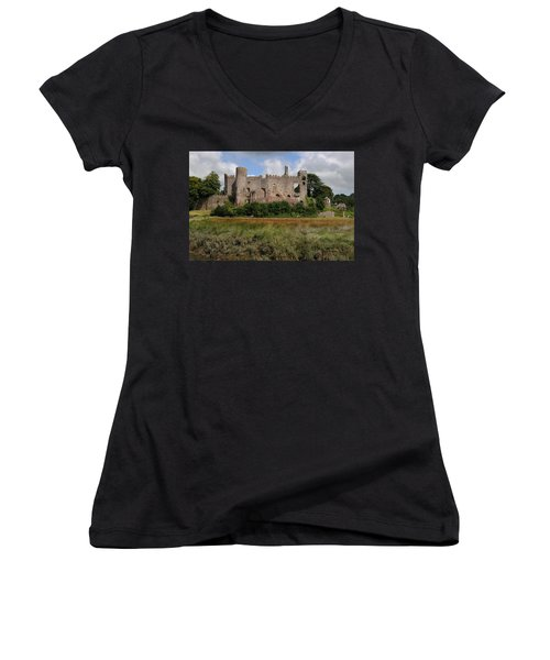 Laugharne Castle Women's V-Neck T-Shirt (Junior Cut) by Jeremy Voisey