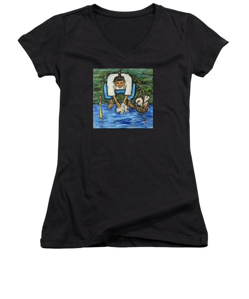 Women's V-Neck T-Shirt (Junior Cut) featuring the painting Laundry Girl by Xueling Zou