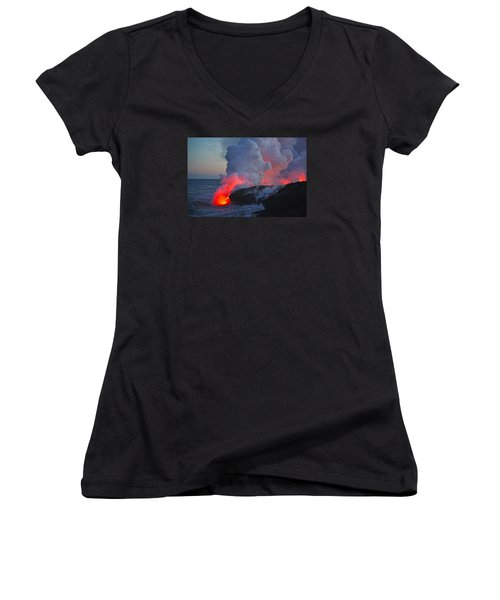 Lava Flow At Sunset In Kalapana Women's V-Neck T-Shirt (Junior Cut) by Venetia Featherstone-Witty