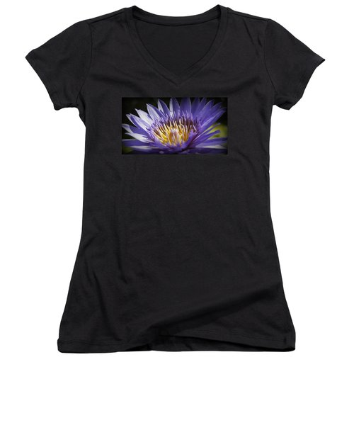 Women's V-Neck T-Shirt (Junior Cut) featuring the photograph Lavendar Lily by Laurie Perry