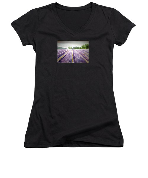 Lavender Fields Tasmania Women's V-Neck T-Shirt (Junior Cut) by Elvira Ingram