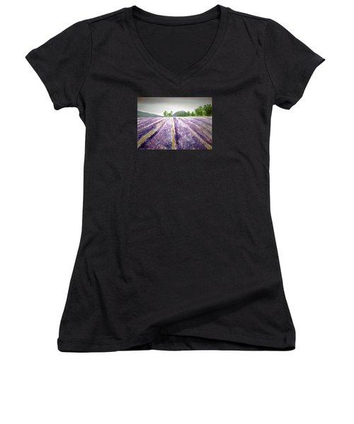 Lavender Fields Tasmania Women's V-Neck T-Shirt