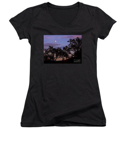 Lavender Moon Twilight Women's V-Neck T-Shirt (Junior Cut) by Gem S Visionary