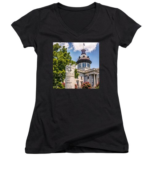 Women's V-Neck T-Shirt (Junior Cut) featuring the photograph Law Enforcement Memorial by Rob Sellers