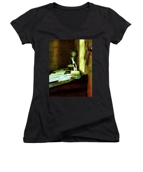Women's V-Neck T-Shirt (Junior Cut) featuring the photograph Lawyer - Desk With Quills And Papers by Susan Savad