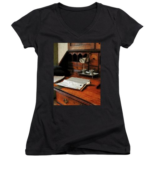 Women's V-Neck T-Shirt (Junior Cut) featuring the photograph Lawyer - Quill Papers And Pipe by Susan Savad