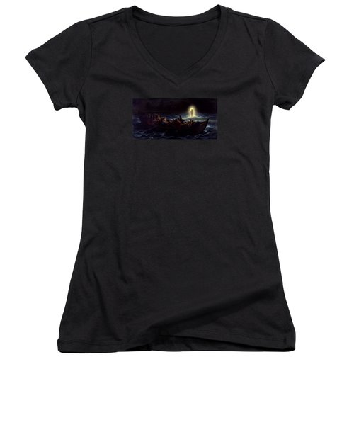 Women's V-Neck T-Shirt (Junior Cut) featuring the painting Le Christ Marchant Sur La Mer by Amedee Varint
