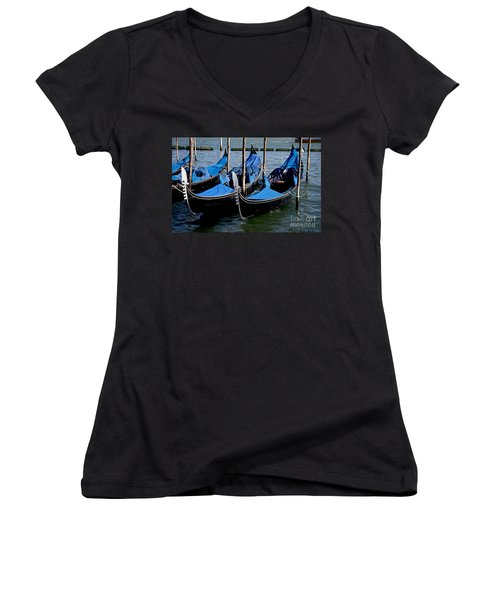 Women's V-Neck T-Shirt (Junior Cut) featuring the photograph Gli Gondole by Ivete Basso Photography