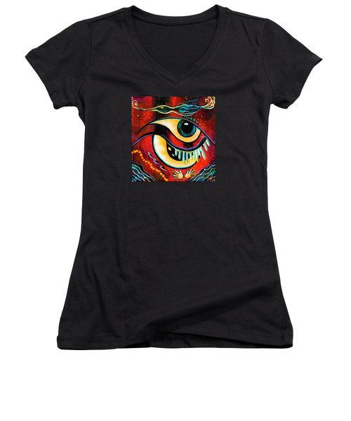 Women's V-Neck T-Shirt (Junior Cut) featuring the painting Leadership Spirit Eye by Deborha Kerr