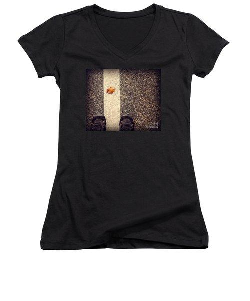 Women's V-Neck T-Shirt (Junior Cut) featuring the photograph Leaf On The Line by Meghan at FireBonnet Art
