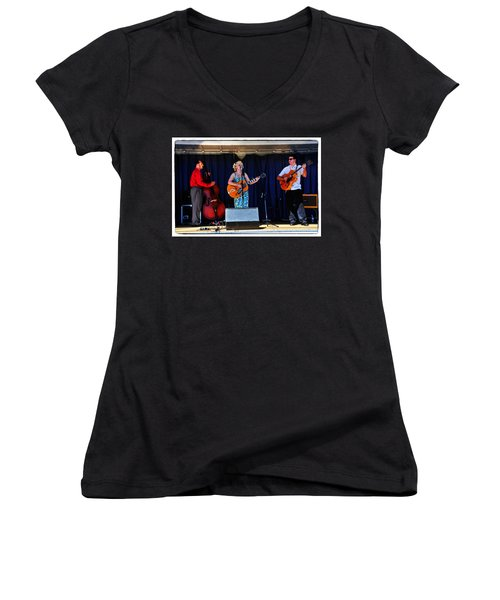 Women's V-Neck T-Shirt (Junior Cut) featuring the photograph Leah And Her J Walkers by Mike Martin