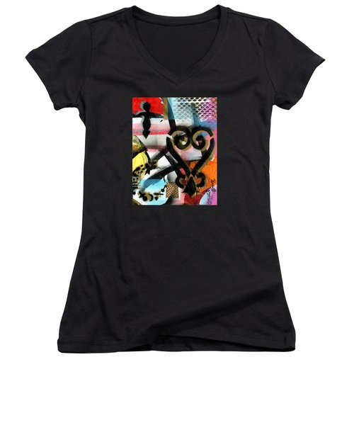 Learning From The Past Women's V-Neck T-Shirt (Junior Cut) by Everett Spruill