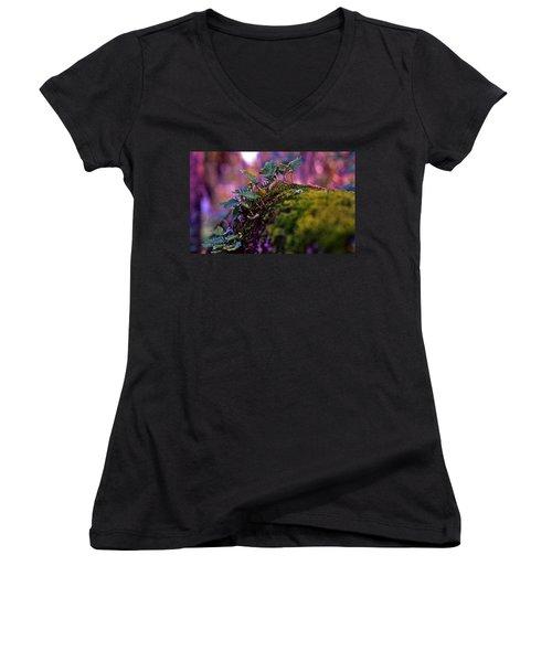 Leaves On A Log Women's V-Neck T-Shirt (Junior Cut)