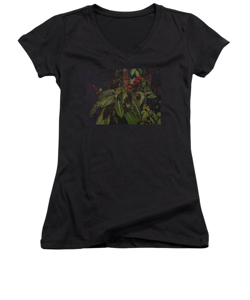 Women's V-Neck T-Shirt (Junior Cut) featuring the painting Leaving Monroe by Thu Nguyen