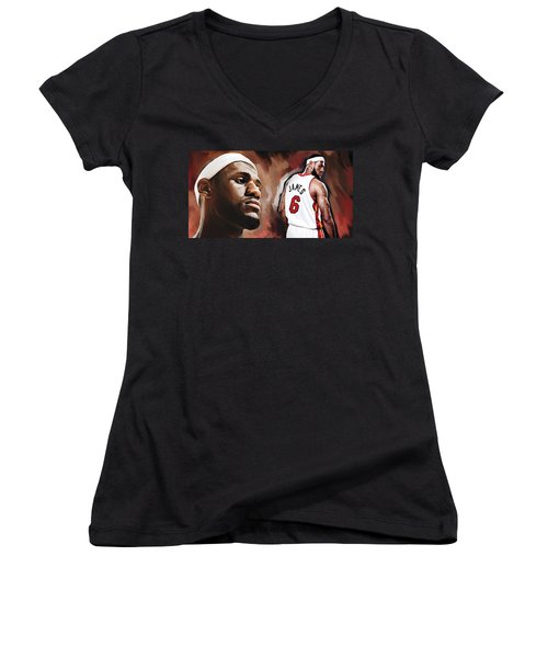 Lebron James Artwork 2 Women's V-Neck T-Shirt (Junior Cut) by Sheraz A