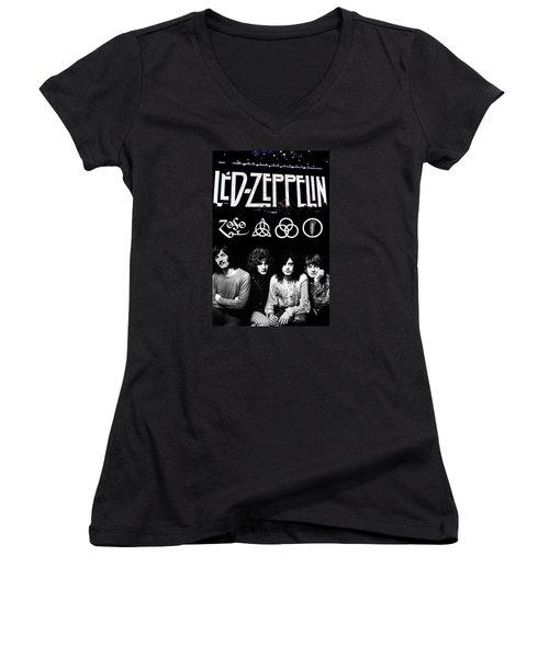 Led Zeppelin Women's V-Neck (Athletic Fit)