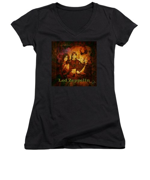 Led Zeppelin - Kashmir Women's V-Neck T-Shirt (Junior Cut) by Absinthe Art By Michelle LeAnn Scott