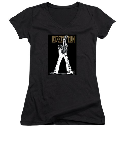Led Zeppelin No.06 Women's V-Neck T-Shirt (Junior Cut) by Caio Caldas