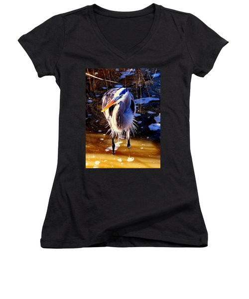 Women's V-Neck T-Shirt (Junior Cut) featuring the photograph Legs by Faith Williams