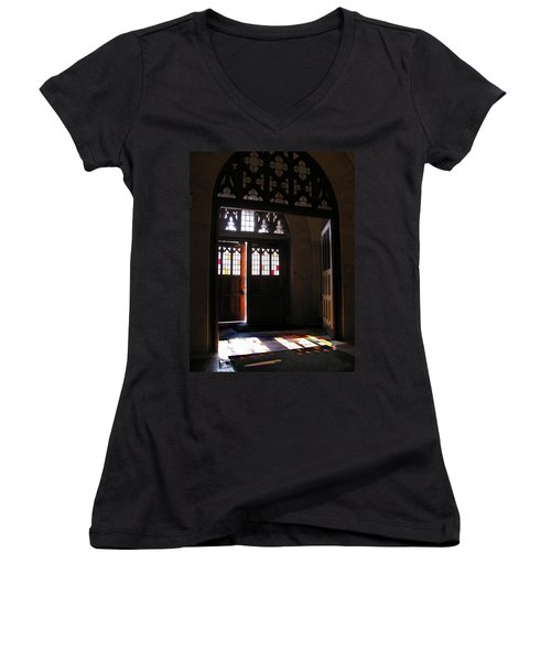 Lehigh University Linderman Library Entrance Women's V-Neck T-Shirt