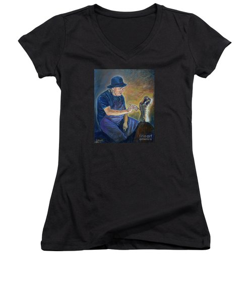 Figurative Painting Women's V-Neck (Athletic Fit)