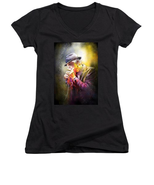 Leonard Cohen 02 Women's V-Neck (Athletic Fit)