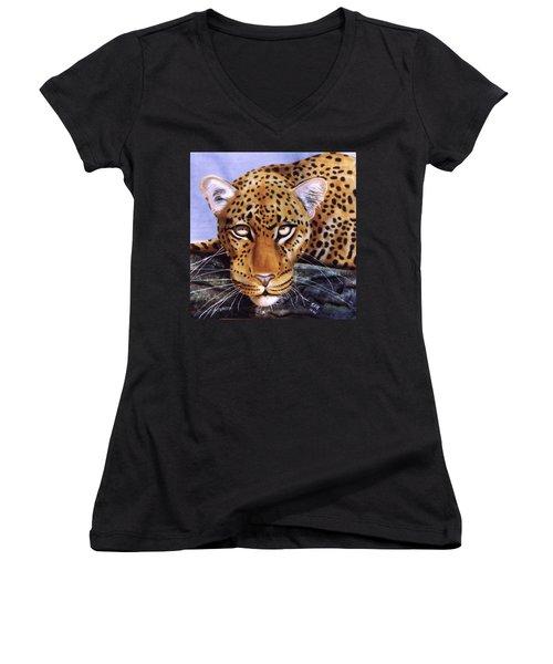 Leopard In A Tree Women's V-Neck