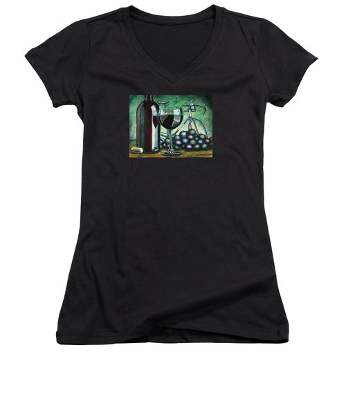 Women's V-Neck T-Shirt (Junior Cut) featuring the painting L'eroica Still Life by Mark Howard Jones