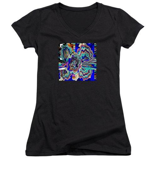 Original Abstract Art Painting Let Life Bloom Women's V-Neck T-Shirt (Junior Cut) by RjFxx at beautifullart com