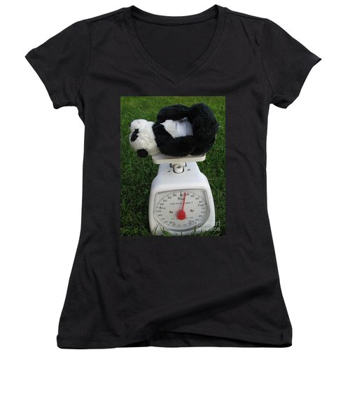 Women's V-Neck T-Shirt (Junior Cut) featuring the photograph Let's Check My Weight Now by Ausra Huntington nee Paulauskaite