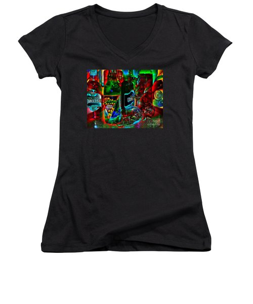 Women's V-Neck T-Shirt (Junior Cut) featuring the photograph Libations by Linda Bianic