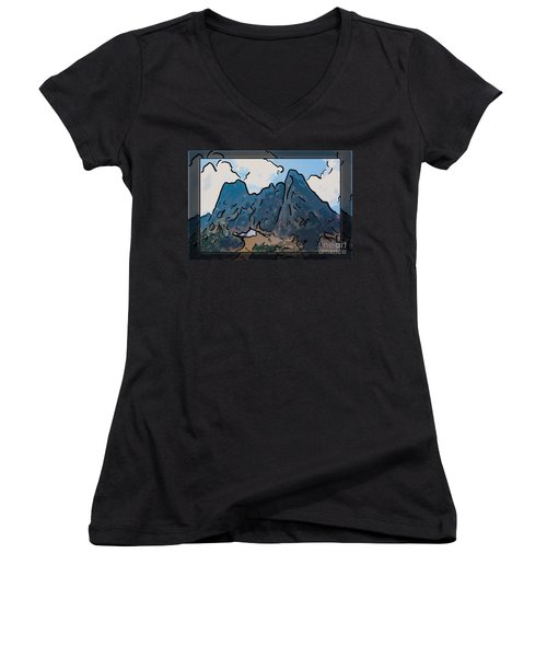 Liberty Bell Mountain Abstract Landscape Painting Women's V-Neck
