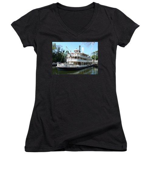 Women's V-Neck T-Shirt (Junior Cut) featuring the photograph Liberty Riverboat by David Nicholls