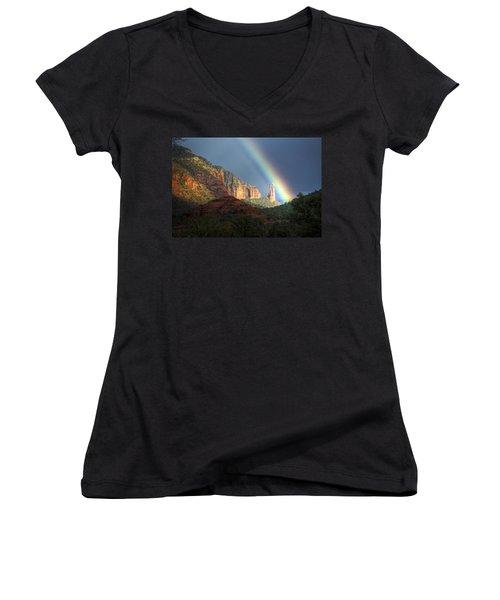 Life Is Beautiful  Women's V-Neck T-Shirt (Junior Cut) by Saija  Lehtonen
