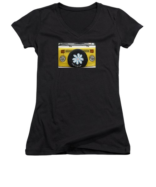 Life Is Good With Vw Women's V-Neck T-Shirt (Junior Cut) by Wendy Wilton