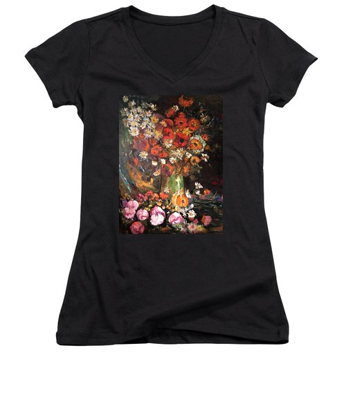 Women's V-Neck T-Shirt (Junior Cut) featuring the painting Life Is Like A Vase Of Flowers by Belinda Low