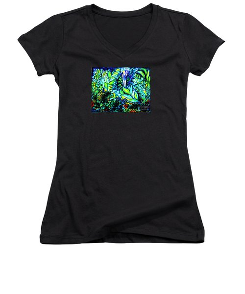 Women's V-Neck T-Shirt (Junior Cut) featuring the painting Life Without Filters by Hazel Holland