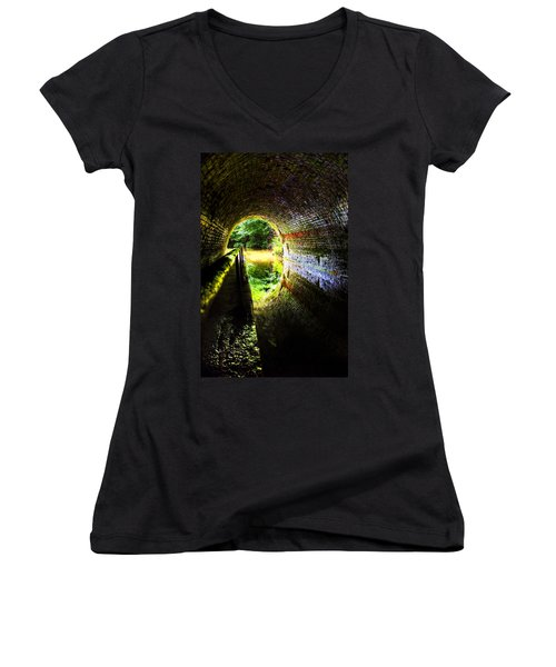 Light At The End Of The Tunnel Women's V-Neck T-Shirt (Junior Cut) by Meirion Matthias