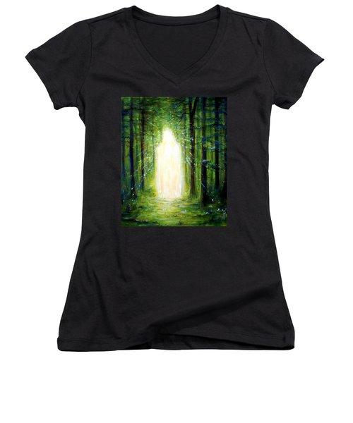 Women's V-Neck T-Shirt (Junior Cut) featuring the painting Light In The Garden by Heather Calderon