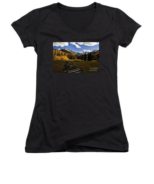 Light In The Valley Women's V-Neck T-Shirt (Junior Cut) by Steven Reed