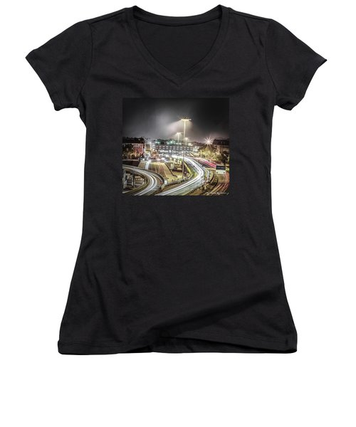 Women's V-Neck featuring the photograph Light Moves by Stwayne Keubrick