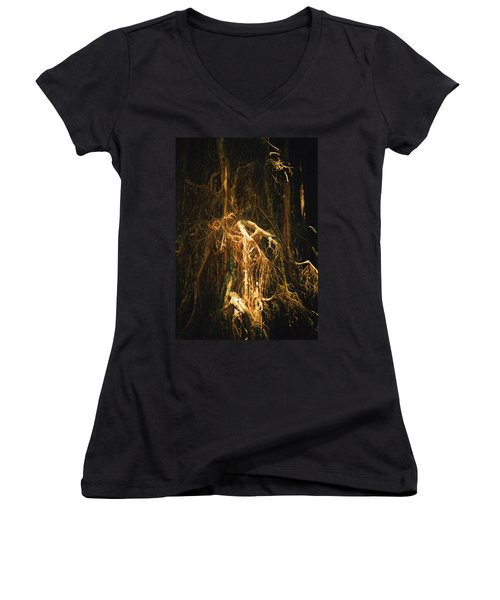 Women's V-Neck T-Shirt (Junior Cut) featuring the photograph Light Roots by Evelyn Tambour