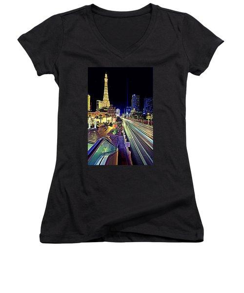 Light Speed Vegas Women's V-Neck T-Shirt (Junior Cut) by Matt Helm