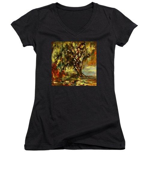 Light Through The Moss Tree Landscape Painting Women's V-Neck