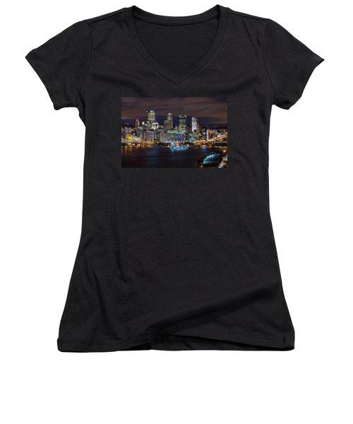 Light Up Night Pittsburgh 3 Women's V-Neck T-Shirt (Junior Cut) by Emmanuel Panagiotakis